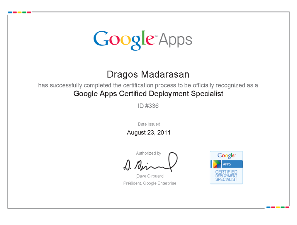 Google Apps Certified Dragos Madarasan